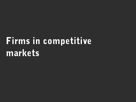 Firms in competitive markets