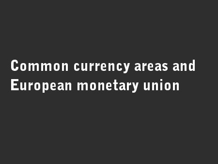 Common currency areas and European monetary union