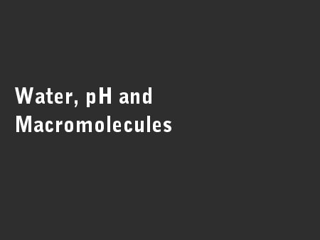 Water, pH and Macromolecules